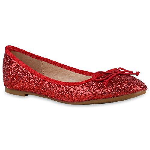 Klassische Damen Ballerinas Lederoptik Basic Freizeit Schuhe Übergrössen Rot Glitzer