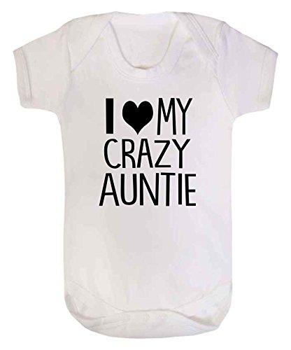 I Love My Crazy tía bebé chaleco Babygrow Body de bebé ducha regalo