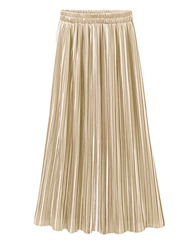 Jupe Longue Femme Elastique Style Rétro Vintage Plissée Maxi Jupe Abricot