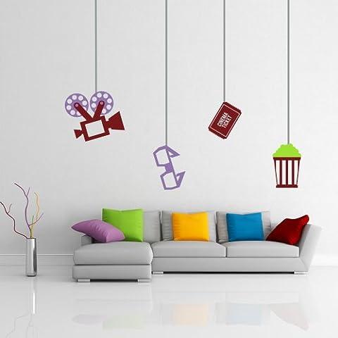 El cine tema Proyector adhesivo para pared pared presupuesto Gafas palomitas adhesivo para pared pared adhesivo sala de estar casa arte decoración, vinilo, Custom,