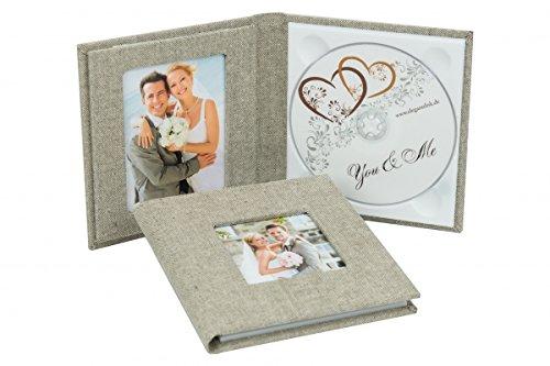 Primo cd/dvd/blueray custodia. dvd case per 1disk con 2immagine finestra. tessuto di lino grigio