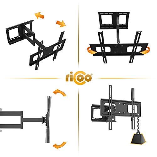 RICOO Fernsehhalterung Schwenkbar Neigbar S2544 Fernseher Wandhalterung TV Halterung Curved Fernseh Wandhalter Flatscreen LED LCD 4K Schwenkarm Moebel VESA | 200 | 400 | Flachbildschirm: 30 32 34 40 42 43 45 55 Zoll - 3