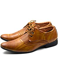 DE LOYON Synthetic Leather Formal Derby Shoes for Men