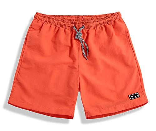 SHEKINI Herren Moderne Sport Badeshorts Teenager Jungen Kurz Badehose Vielfarbig Orange Große Größen Männer Beachshorts Mit Tasche 5XL Kordelzug (XXX-Large, Orange)