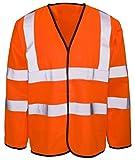 Islander Fashions Mens High Visibility Langarm Arbeitsschutz Weste Erwachsene Wasserdichte Arbeitskleidung Fancy Coat Orange 3X Gro�