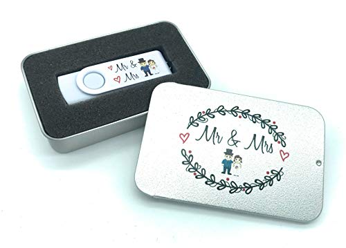 Mr & Mrs - Memoria USB de 16 GB, diseño de Novia y Novio