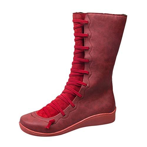 KUDICO Damen Boots Frauen Winterstiefel Casual Flache Schuh Leder Schnürstiefel Seitlicher Reißverschluss Hohe Stiefel(36 EU, rot)