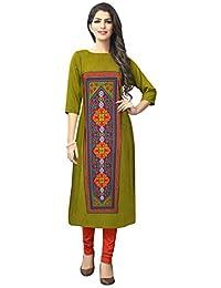 6d8b9f07fae 1 Stop Fashion Women s Green Colour Crepe Knee-Long W Style Kurta Kurti