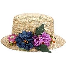 591ef97d642cd Vasara Sombrero Canotier con Cinta y Flores