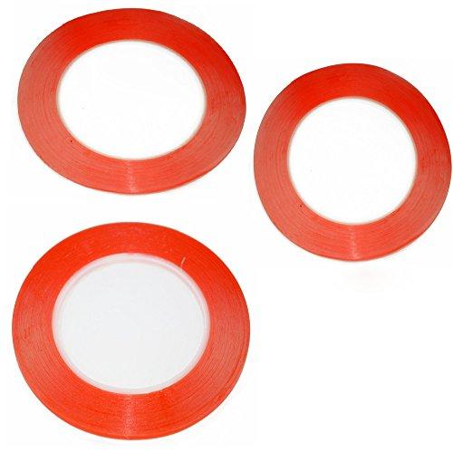 Doppelseitige 3M-Klebebänder in verschiedenen Breiten (1 mm / 2 mm / 3 mm), jeweils 25 m, Rot, für die Reparatur von Handys, LCD-Displays und Gerätegehäusen, 3 Stück - Oem Handy