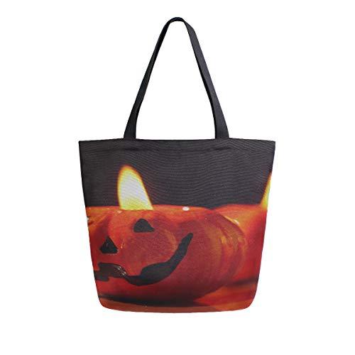 (Halloween Geschnitzte Kürbis Kerze Tragbare Große Doppelseitige Lässige Canvas Tragetaschen Handtasche Schulter Wiederverwendbare Einkaufstaschen Duffel Geldbörse Frauen Männer Lebensmittelgeschäft)