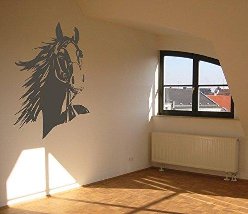 Wandtattoo - Pferdekopf mit Mähne - Reitsport - Tiermotiv - verschiedene Farben und Größen (M070 Schwarz, 650 mm x 450 mm)