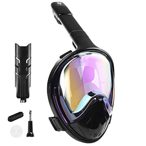 VILISUN Vollmaske Schnorchelmaske Tauchmaske Vollgesichtsmaske mit 180° Sichtfeld, Dichtung aus Silikon Anti-Fog und Anti-Leck Technologie (Schwarz (galvanische Beschichtung), L/XL)