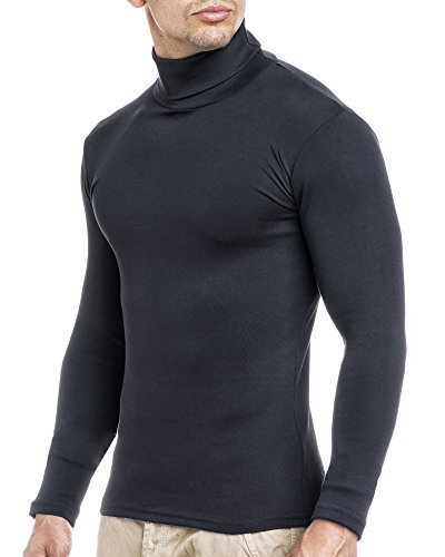 Herren-Rollkragenpullover-Pullover-Rollkragen-Hoodie-T-Shirt-Slim-Fit-Gre-M-schwarz