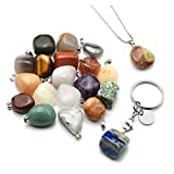 Crystaltears Assorted Tumbled Gemstones meteorite Fragment Mineral Rock Pendants Jewelry making charms Necklace Keychain–random 20PCS Stones Collection box