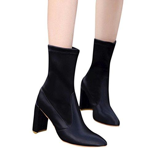 Bottes Chaussettes Hautes à Talons Femme Overdose Hiver Automne Chaussures Bottines Soldes en Maille Stretch Sexy Talon Carré Boots