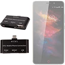 DURAGADGET Lector De Tarjetas Para Smartphone UMI Max | Touch | Motorola Moto X Play - OTG 4 En 1 - TF/M2, SD(HC), USB + Cable USB - ¡Perfecto Para Transferir Sus Fotos!
