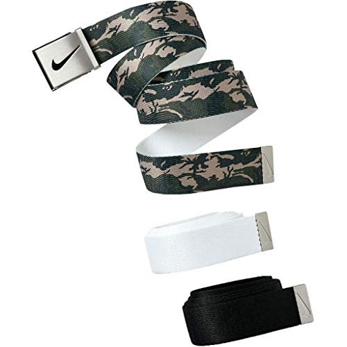 Nike Mens Camo Performance Metalic Buckle Web Belt 3-Pack