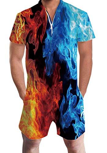RAISEVERN Männer Sommer Kurzarm 3D Printed Shorts mit T-Shirts Overall Einteiler Strampler Outfits Bunten Smog - Graphic T-shirt Short