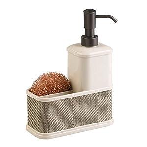 mDesign dispensador de jabón recargable – Dosificador de jabón hecho de plástico resistente – Con portaestropajos – Color: gris/negro