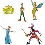 Bullyland figuras de Peter Pan, Disney –Set de 4figuras, incluye a el Capitán Garfio y Wendy, ideal para decoración de tartas