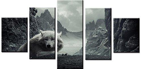 XDXART 5pcs Home Decor Imágenes Impresas Pintura en Lienzo, Decoración Arte – Wolf Pared Pintura al Óleo Impreso Cuadros (sin Marcos de Madera), 12x16x2p+12x24x2p+12X32inch