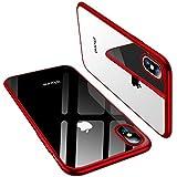 TORRAS iPhone X Hülle, Silikon Durchsichtig Ultra Dünne Schutzhülle Transparent Handyhülle [ Kratzfest ] Klar Soft Slim Gel Case TPU Plating Bumper Handy Hulle für iPhone X/iPhone 10 - Rot