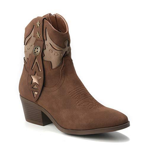 HERIXO Damen Schuhe Stiefeletten Cowboy-Stiefel Ibiza Indianer Western-Boots Reiter Mokassins Sommerstiefel Festival (40 EU, Camel)