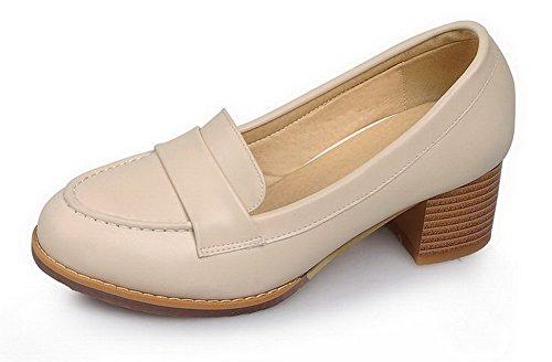 VogueZone009 Femme Rond Tire Couleur Unie Pu Cuir à Talon Correct Chaussures Légeres Abricot