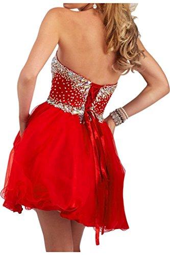 Missdressy Damen Liebling Kurz Satin Tuell Herzform Steine Schnuerung Abuiball Abschlussball Partykleid Cocktailkleid Tanzenkleid Rot