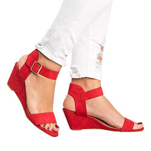 TianWlio Sandalen Damen Sommer Mode Solide Wedges Ferse Schnalle Römische Schuhe Sandalen Plateau Sandaletten Sandalen Schwarz Rieker Sandalen Ballerinas Rot 35