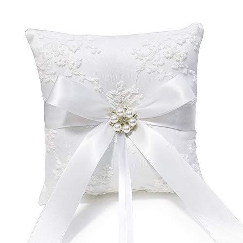 vinfutur cuscino portafedi cuscino ricamato per fedi anelli nuziali con fiocchetto pizzo perle decorazione floreale per matrimonio fidanzamento 18 x 18 x 6 cm bianco