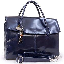 Bolso para el portátil - Gran capacidad - Cuero vintage - Azul Marino