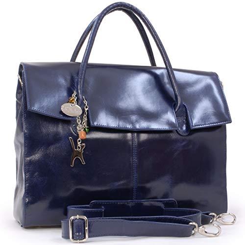 Catwalk Collection Handbags - Leder - Übergroße Laptoptasche Schultasche/Organizer/Arbeitstasche/Aktentasche für Damen - Laptop/iPad - Handtasche mit Schultergurt - HELENA - Marine Blau