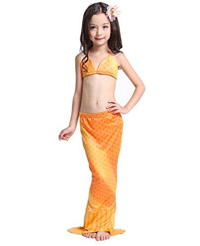 D'amelie Kinder Mädchen Meerjungfrau Schwanz Mermaid Kostüm 3tlg. Badeanzug schuppen Bikini Set (Prinzessin Glitter Kostüme)