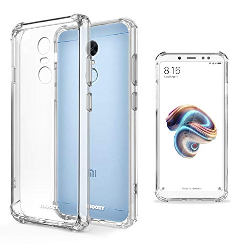 Moozy Funda Silicona Antigolpes para Xiaomi Redmi 5 Plus - Transparente Crystal Clear TPU Case Cover Flexible
