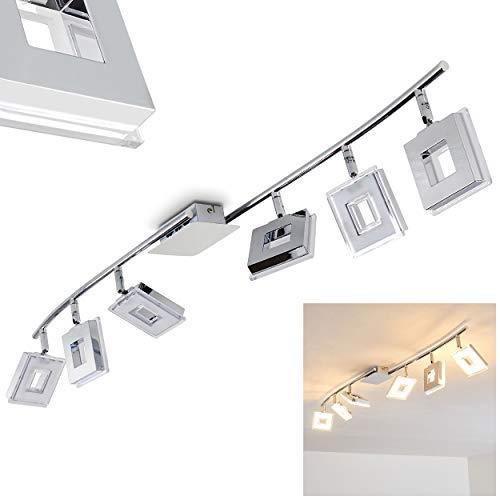 Plafonnier LED Krakau en métal chromé, avec 6 spots orientables de 4,5 Watt chacun, émettant au total 2100 Lumen à 3000 Kelvin (blanc chaud)