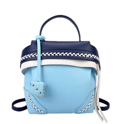 Milkate Knit Hit Color Bag Rucksack Campus Wind Freizeit Joker Student Bag, Damen, blau, W18H20D11