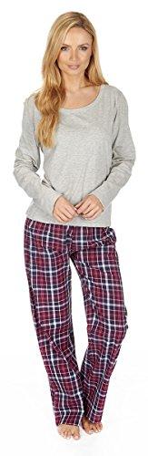 Forever Dreaming Damen Schlafanzug, Jersey, Top und gewebte Hose Grau