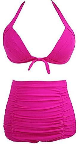 SunIfSnow Bikini - Paréo - Uni - Sans Manche - Femme Orange Rose fluo