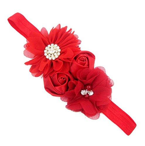 Bébés filles Bandeau Ularmo Bébés filles en mousseline de soie Rose Fleur élastique Bandeau Bandeau (Rose) Rouge