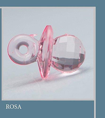 Confezione 25 pezzi, bomboniera applicazione ciucciotto in plastica, dimensione cm 2.5, x segnaposto, composizione confetti. (ck1209) (rosa)