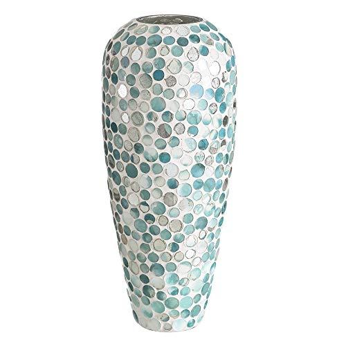 LOLAhome Jarrón florero Mosaico contemporáneo Azul