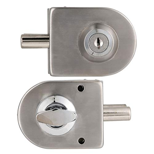 Serrure de porte en verre, serrure de porte en verre durable en acier inoxydable, double verrou de sécurité antivol avec clés à bouton pour porte en verre simple de 10 mm à 12 mm