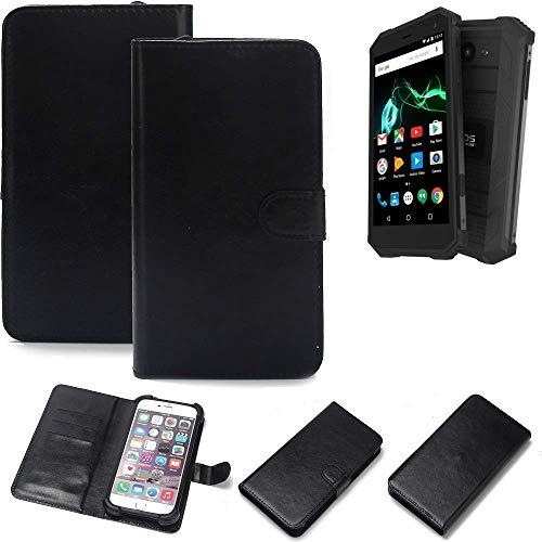K-S-Trade 360° Wallet Case Handyhülle Archos Saphir 50X Schutz Hülle Smartphone Flip Cover Flipstyle Tasche Schutzhülle Flipcover Slim Bumper schwarz, 1x