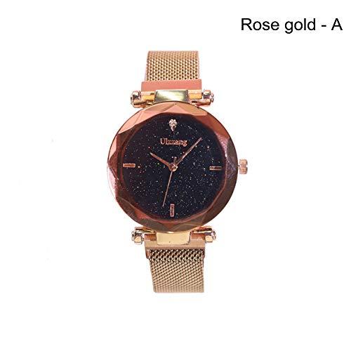 Gogordon Mujeres Starry Sky Albañil Trabajo Reloj magnético Strap aleación Hebilla Cinturón Reloj Regalo de cumpleaños, Rose Gold, A