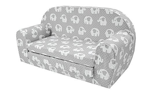 MoMika Kinderschlafsofa Kindersofa mit Bettfunktion Couch Kindermöbel Ausklapp Kindersessel, zum Schlafen und Spielen - 2 Sitzer (Elephant-S109)