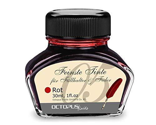 Füllhaltertinte im Tintenglas, Schreibtinte für Füllhalter, Füllertinte in Rot 30ml im Tintenfass, Kalligraphie Tinte