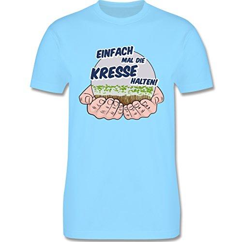 Sprüche - Einfach Mal Die Kresse Halten - Herren T-Shirt Rundhals Hellblau
