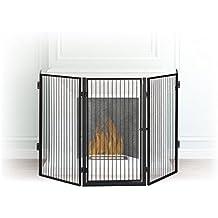 Relaxdays Kaminschutzgitter Metall, Absperrgitter 5 Elemente, Feuerschutzgitter für Babys und Haustiere, schwarz